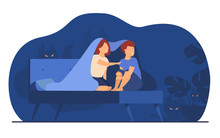 Children Covering With Blanket On Bed Isolated Flat Vector Illustration. Cartoon Afraid Girl And Boy Watching Ghosts And Monsters In Night Room. Childhood Fears, Fright And Nightmare Concept