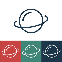 Linear vector icon with Saturn