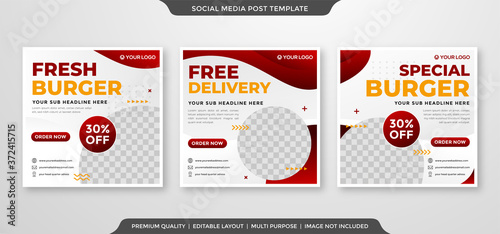 Fotografering social media post ads template with minimalist style use for food menu promotion