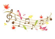 秋イメージの音符と5線符の手描き色鉛筆画のイラスト