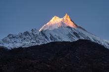Manaslu Mountain Peak At Sunri...