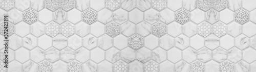 Fototapeta Abstract white gray grey seamless geometric modern marbled marble tile mirror ma