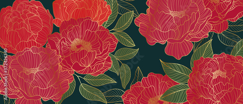 Fototapeta Luxurious line arts background design with peony flower spherical composition for wallpaper, textiles, paper and prints. Vintage vactor illustration. obraz