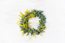 Beautiful Australian Native Yellow Wattle/acacia Flower Wreath, Photographed From Above, On A White Rustic Background. Know As Acacia Baileyana Or Cootamundra Wattle.