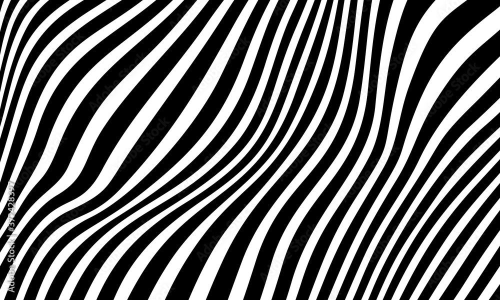 Fototapeta Minimal abstract black and white background. Black wavy lines pattern. Optical art, opart striped. Modern waves, geometric line stripes. vector illustration