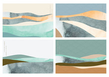 Natural Landscape Background With Japanese Wave Pattern Vector.Mountain Forest With Abstract Template. Watercolor Texture Element.
