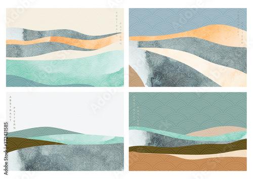 Fotografia Natural landscape background with Japanese wave pattern vector