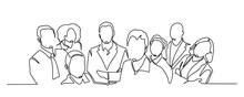 Continuous Drawing Of A Business Team Standing Together. Continuous Line Drawing Of A Diverse Crowd Of Standing People. Group Of People Continuous One Line Vector Drawing. Family, Friends Hand Drawn