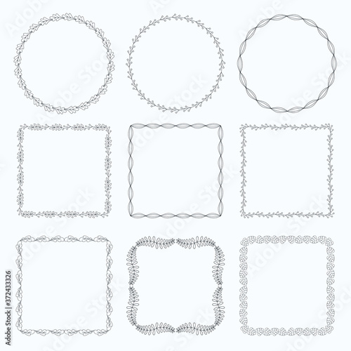 Fotografering Decorative frames and borders square set vector