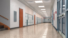 School Corridor With Lockers. ...
