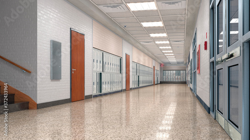 Obraz na plátně School corridor with lockers. 3d illustration