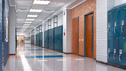 Fototapeta School corridor with lockers. 3d illustration