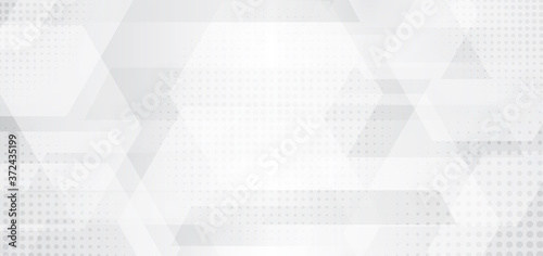 Obraz na plátně Abstract banner web white and gray geometric hexagon overlapping technology corp