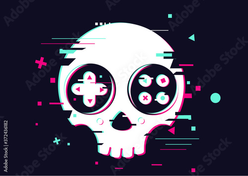 Fotografía Game over glitchy sign with skull and gamepad