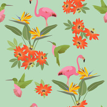 Seamless Vector Illustration With Tropical Flowers Passiflora, Hummingbird And Flamingo.