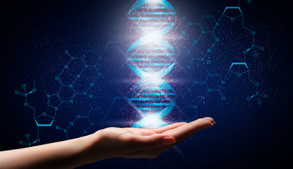 Genetic engineering concept. Collage with glowing DNA molecule over female hand on blue background