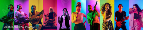 Collage of portraits of 10 young emotional talented musicians on multicolored background in neon light. Concept of human emotions, facial expression, sales. Playing guitar, singing, dancing.