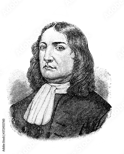 William Penn, a founder of the English North American colony in the old book Encyclopedic dictionary by A Slika na platnu