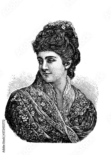 Adelina Patti, was an Italian 19th-century opera singer in the old book Encyclopedic dictionary by A Wallpaper Mural