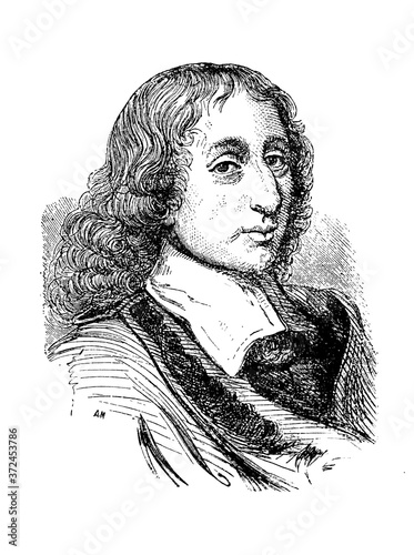 Fotomural Blaise Pascal, was a French mathematician, physicist, inventor and writer in the old book Encyclopedic dictionary by A