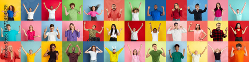 Fotografering Collage of portraits of 31 young emotional people on multicolored background