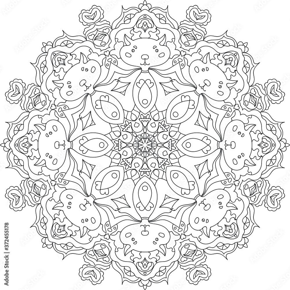 Fototapeta Coloring book for adults antistress / Mandala / Oriental drawing / Zentangle