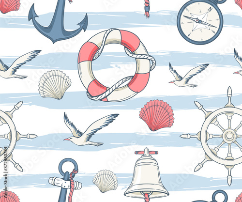 Seamless nautical pattern with seagulls, lifebuoys, anchors and seashells Canvas