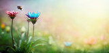 Blue and pink flowers on a blurred background. Macro shot. Summer and spring fantasy background. Wide format, free space for design. Concept flower background.