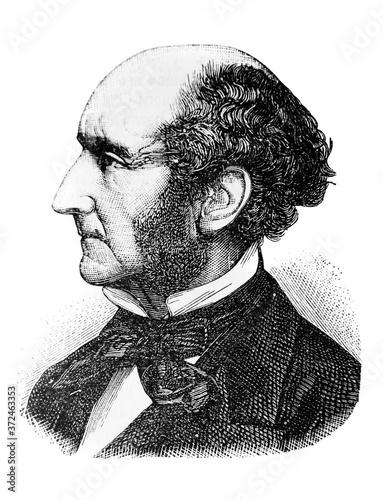 Fototapeta John Stuart Mill, was an English philosopher, political economist, and civil servant in the old book Encyclopedic dictionary by A. Granat, vol. 5, S. Petersburg, 1896 obraz