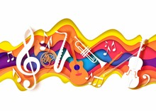 Vector Layered Paper Cut Craft Style Music Composition Of Saxophone Guitar Trumpet Violin Music Instruments, Notes On Abstract Color Background. Jazz Concert Festival Party Poster Banner Card Template