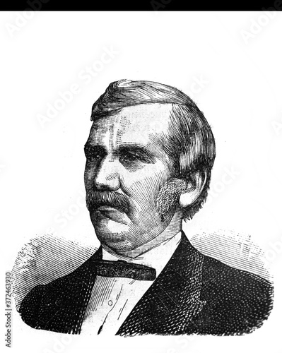 Fotomural David Livingstone, was a Scottish physician, Congregationalist, and pioneer Christian missionary in the old book Encyclopedic dictionary by A