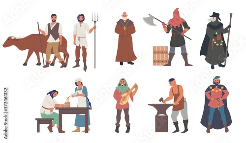 Fotomural Medieval people male and female cartoon character set flat vector isolated illustration