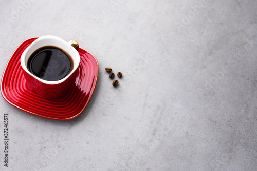 Fotografie, Obraz space vintage coffee in red cup and coffee bean food background