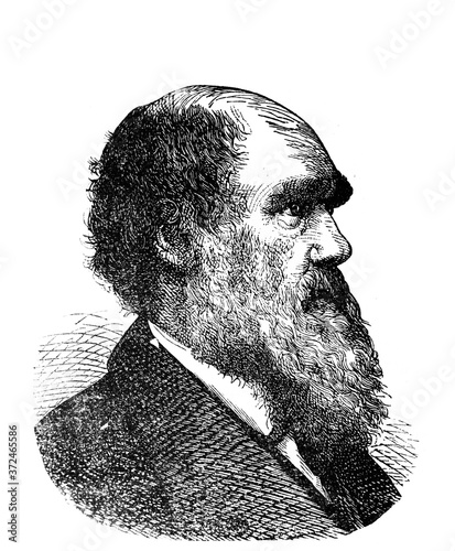 Charles Darwin, was an English naturalist, geologist and biologist in the old book Encyclopedic dictionary by A Fototapet