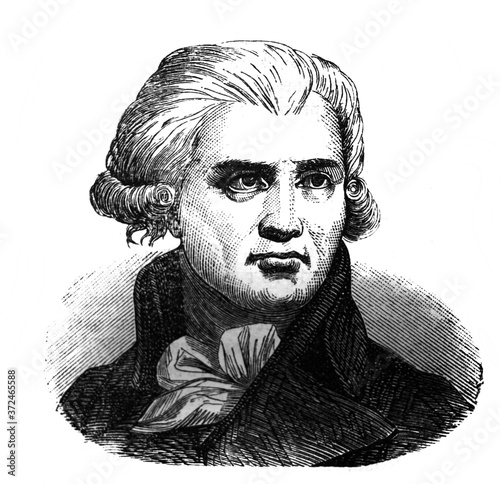 Photo Georges Danton, was a leading figure in the early stages of the French Revolution in the old book Encyclopedic dictionary by A