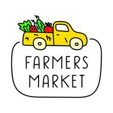 Hand Drawn Badge - Farmers Market. Illustration On White Background.
