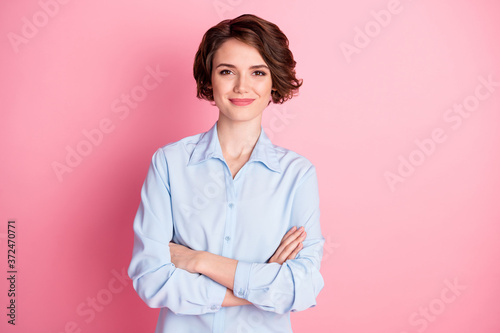 Photo of attractive charming business lady smiling hold arms hands crossed good Fotobehang
