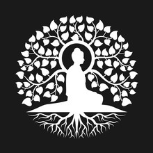 White Side View Buddha Meditation Under Bodhi Tree With Leaf And Root Abstract Circle Style Vector Design