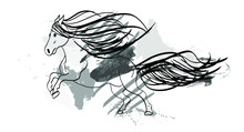 Abstract Horse Drawing With Brush Strokes Canvas Frame Design Material Vector Pattern Isolated Background
