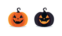 Halloween Pumpkins, Spooky Jack O Lantern Isolated On White Background