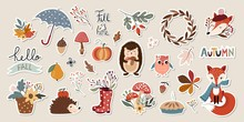 Autumn Stickers Collection With Cute Seasonal Elements