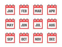 Calendar 12 Month Icon Set, Co...