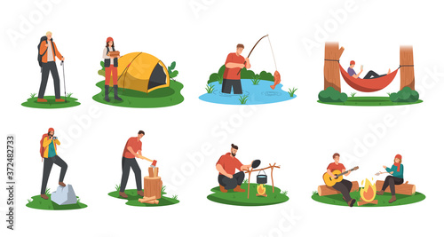 People camping in forest Fototapet