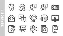 Service 1 Icon Set. Outline St...