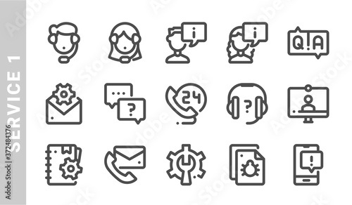 service 1 icon set. Outline Style Canvas