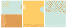 Simple Abstract Vector Backgrounds. Irregular Dots, Waves And Tiny Stripes On A Light Mint, Pale Orange And Warm Yellow Layouts. Hand Drawn Geometric Blanks. Creative Freehand Backdrops.
