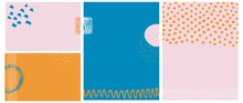 Simple Abstract Vector Backgrounds. Irregular Dots, Waves And Tiny Stripes On A Light Pink, Dark Blue And Orange Layouts. Hand Drawn Geometric Blanks. Creative Pink, Orange And Blue Backdrops.