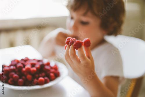 Papel de parede Cute beautiful little boy eating fresh raspberries