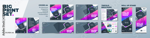 Corporate Identity Print Template Set of Brochure cover, flyer, tri fold, report, catalog, roll up banner Fototapet