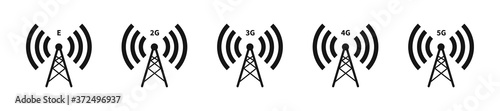 Fotografie, Tablou Network tower vector icon set. Wireless signal symbol set.